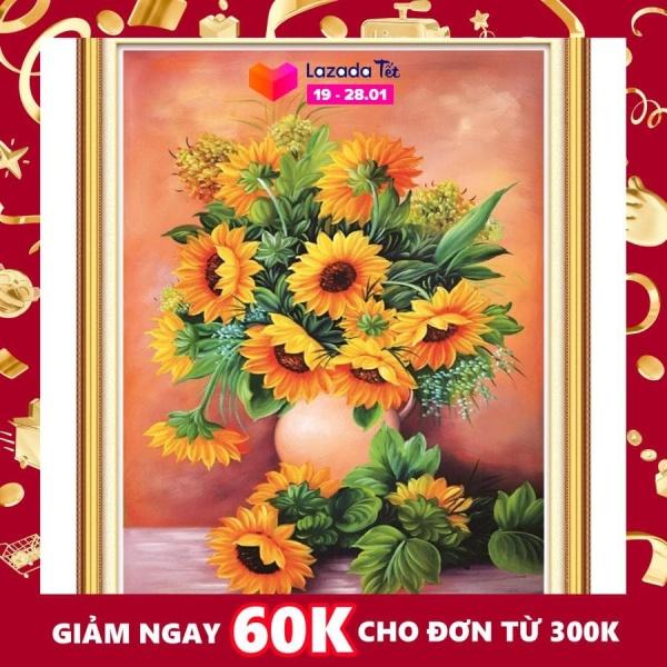 Tranh đính đá Bình hoa Hướng dương cao cấp -KT: 50x75Cm
