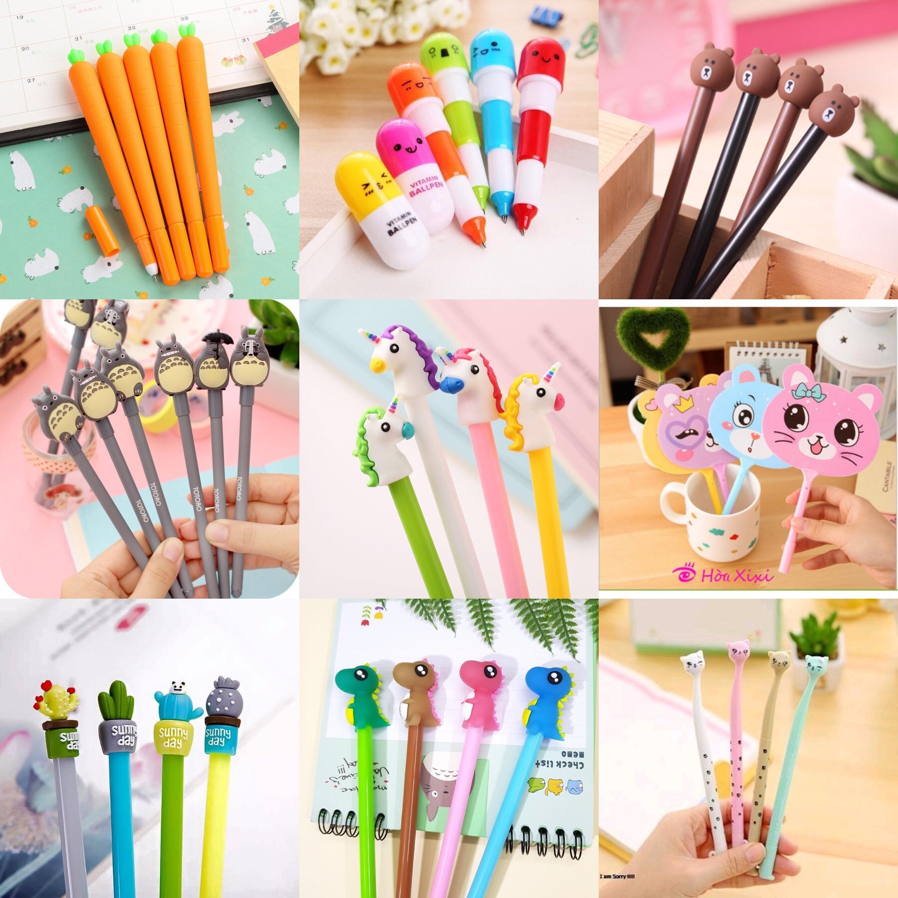 Mua Combo 10 cây bút đủ kiểu dáng siêu cute, đáng yêu ( tặng kèm 2 ống mực )