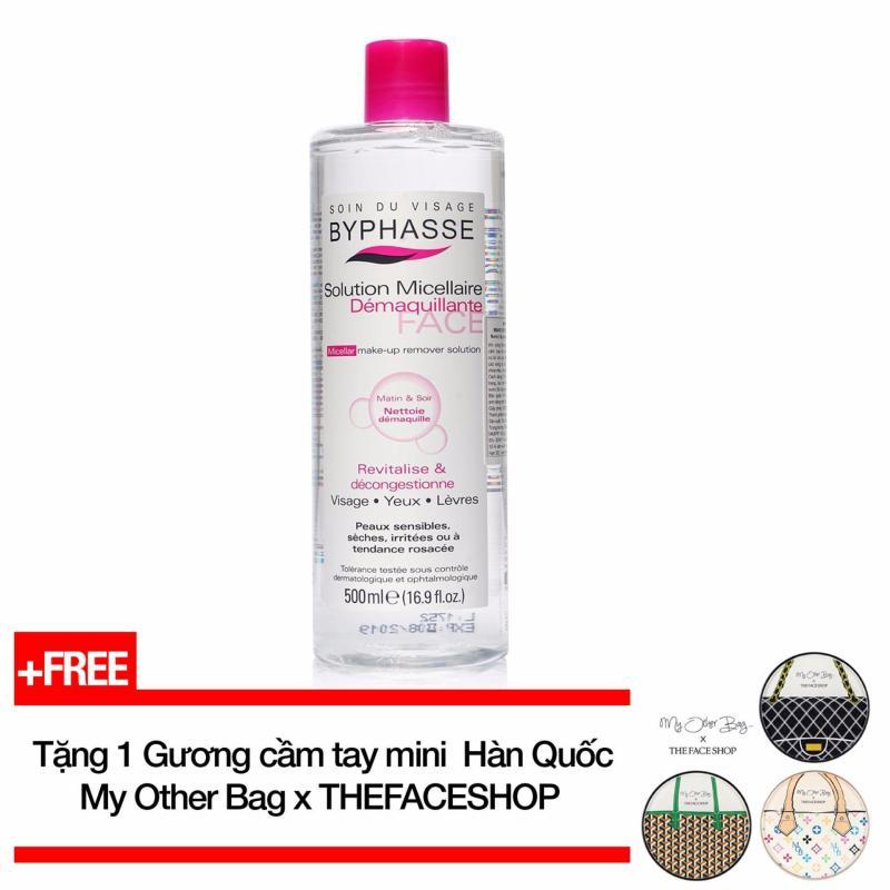 Nước tẩy trang Byphasse Micellar Make-up Remover Solution 500ml + Tặng 1 Gương cầm tay mini My Other Bag (Hàn Quốc) cao cấp