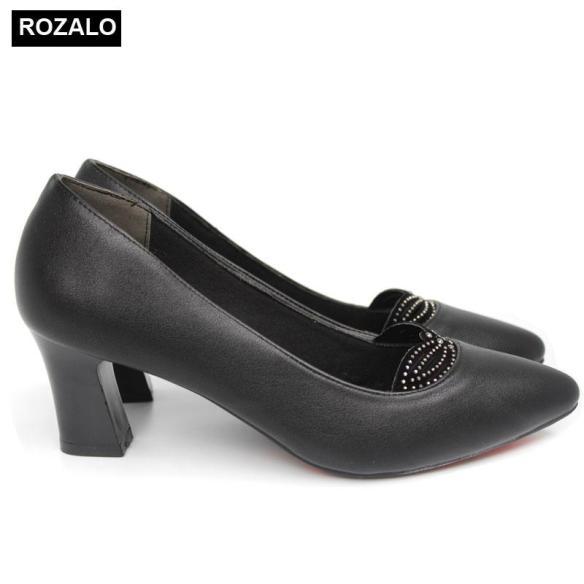 Giày cao gót vuông 5P đính đá Rozalo R5605 giá rẻ