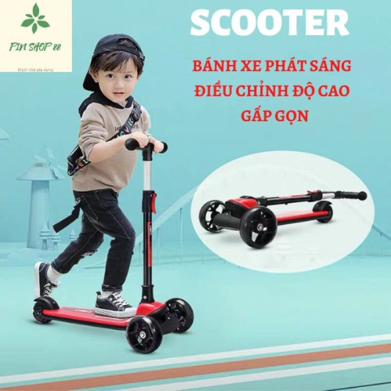 Mua Xe trượt scooter 3 bánh phát sáng JC750 - Bánh xe cao su có đèn phát sáng, gấp gọn, an toàn cho bé