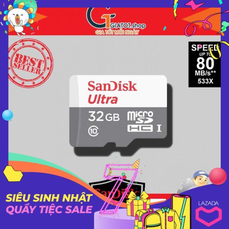 Thẻ nhớ 32Gb SanDisk Ultra Class 10 80Mb/s - Bảo hành 5 năm