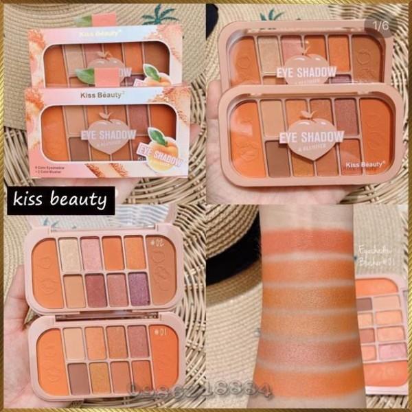 Set trang điểm Kiss Beauty gồm 8 ô phấn mắt + 2 ô phấn má tiện dụng KEB2