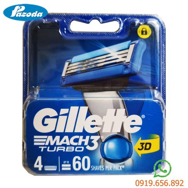 Hộp 4 lưỡi dao cạo râu Gillette Mach 3 turbo ( đầu cạo 3 lưỡi kép) nhập khẩu