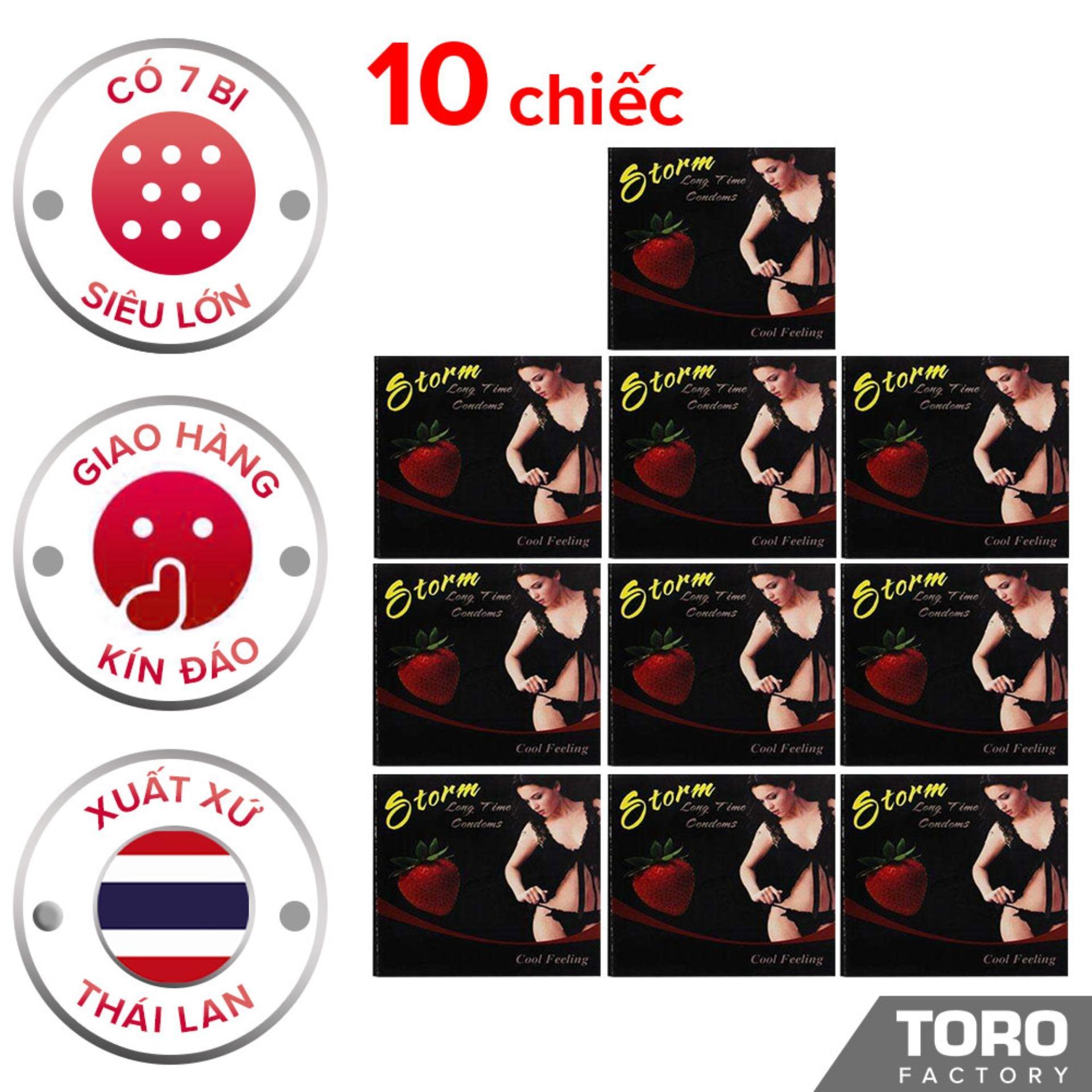 [10 chiếc] Bộ 10 Bao cao su Storm Thái Lan ( 7 bi) thiết kế phần đầu  - Toro chính hãng