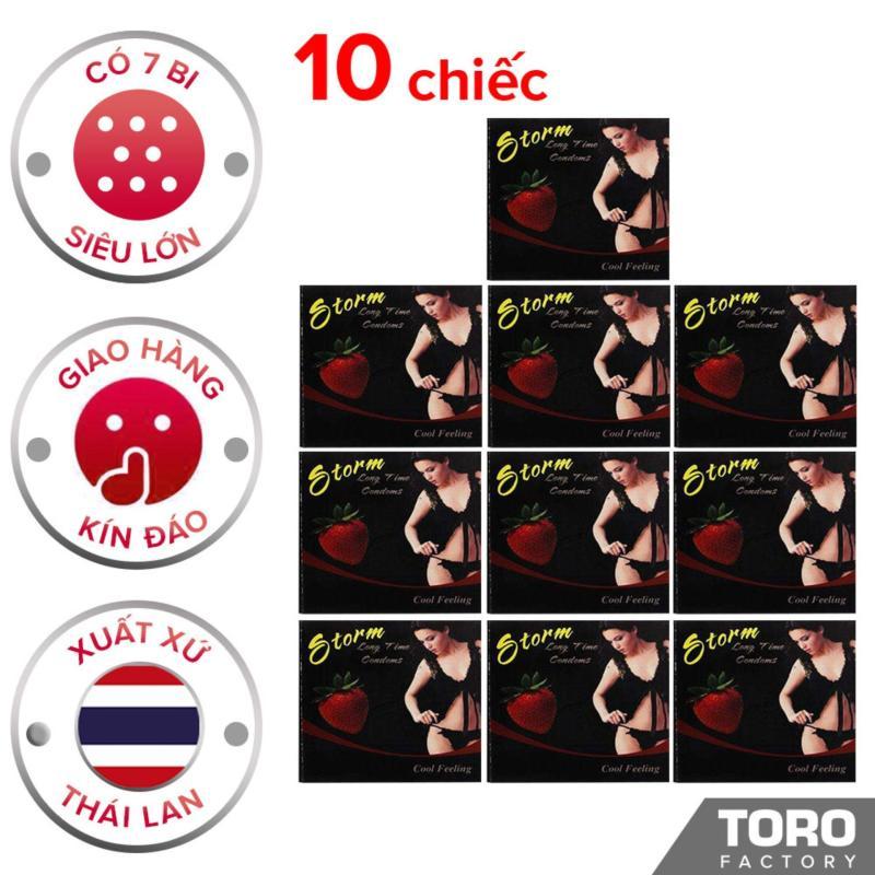 [10 chiếc] Bộ 10 Bao cao su Storm Thái Lan ( 7 bi) thiết kế phần đầu  - [TORO FACTORY]