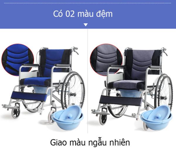 Xe lăn thông thường phiên bản nâng cấp bô vệ sinh và tấm lót đệm