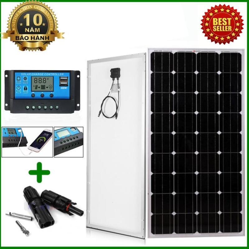 Tấm Pin năng lượng mặt trời đơn tinh thể Mono 170W tặng điều khiển sạc 30A 12V/24V LCD (công suất 360w) + Jack MC4