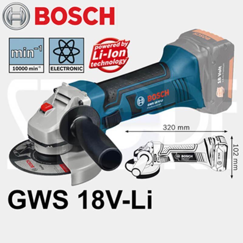 Máy mài góc dùng pin Bosch GWS 18V-LI + Quà tặng áo mưa trị giá 100.000đ