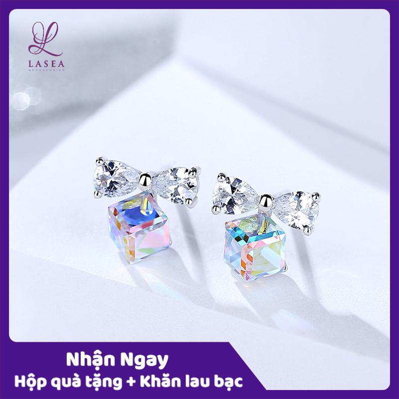Bông tai nữ trang sức bạc Ý S925 Lasea - Hoa tai pha lê cánh bướm ( Xanh Ngọc ) E1523