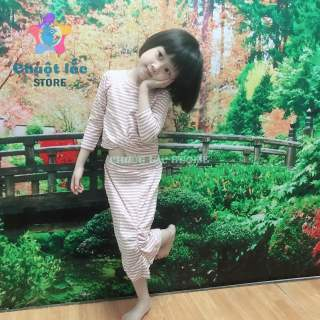 Đầm váy body bé gái, Sét áo váy bé gái dài tay kiểu áo croptop váy nhún chất cotton len tăm 4 chiều mềm mại cho bé từ 4kg đến 18kg