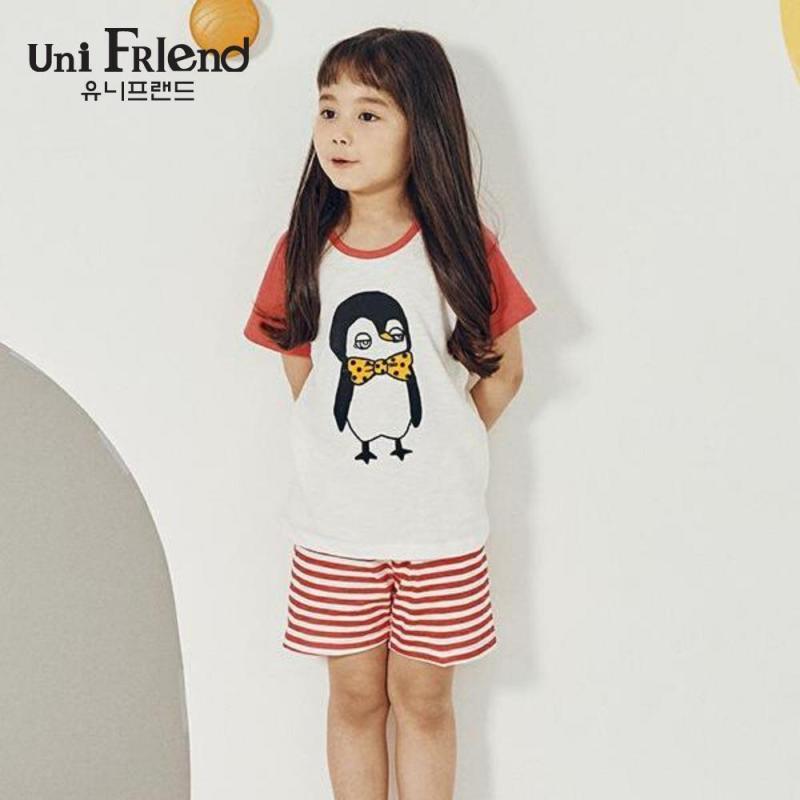 Nơi bán Đồ bộ mặc nhà bé gái Unifriend thun ngắn họa tiết hình chim cánh cụt U9SSTS07