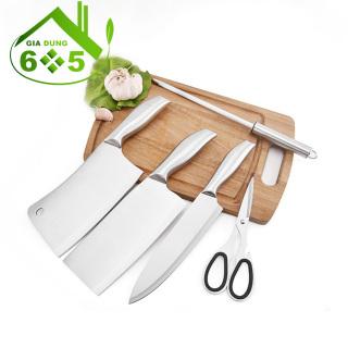 [CÓ GIÁ ĐỂ DAO] Bộ dao làm bếp nhật bản 5 món inox cao cấp, dao thái, dao chặt, dao gọt hoa quả, kéo nhật, dụng cụ mài dao, gia dụng 605 thumbnail