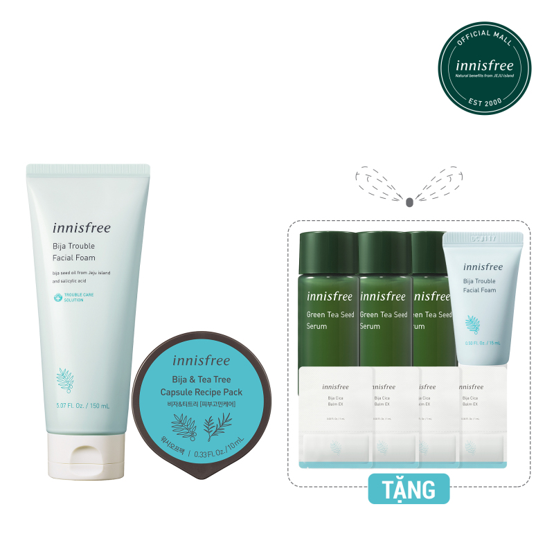 Combo Bộ sản phẩm dưỡng da và cấp ẩm dành cho da mụn Innisfree Bija (Sữa rửa mặt, Mặt nạ rửa dạng hủ, Kem dưỡng làm dịu da,  Tinh chất dưỡng ẩm)