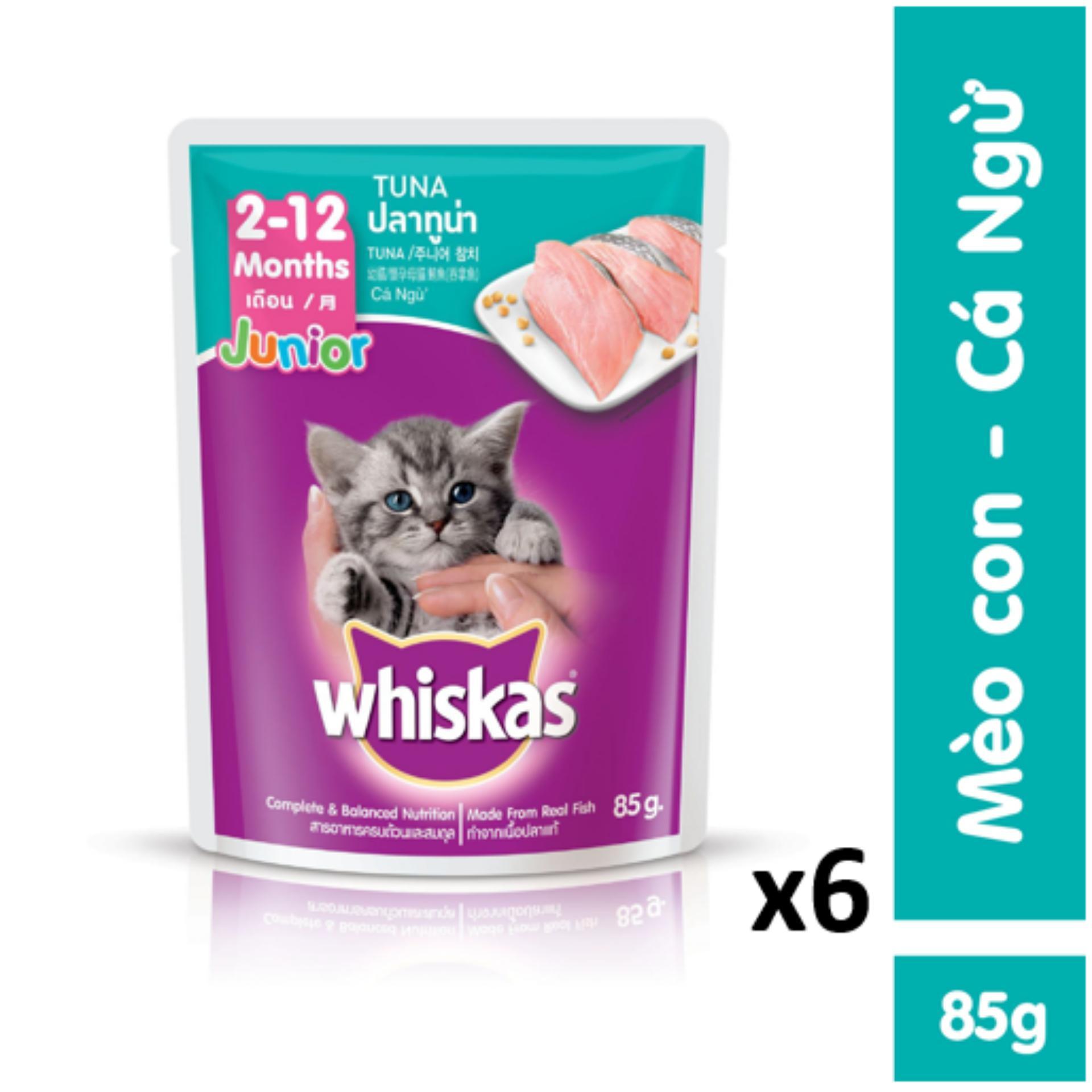 Mã Khuyến Mại Bộ 6 Túi Thức ăn Mèo Con Whiskas Vị Cá Ngừ 85g