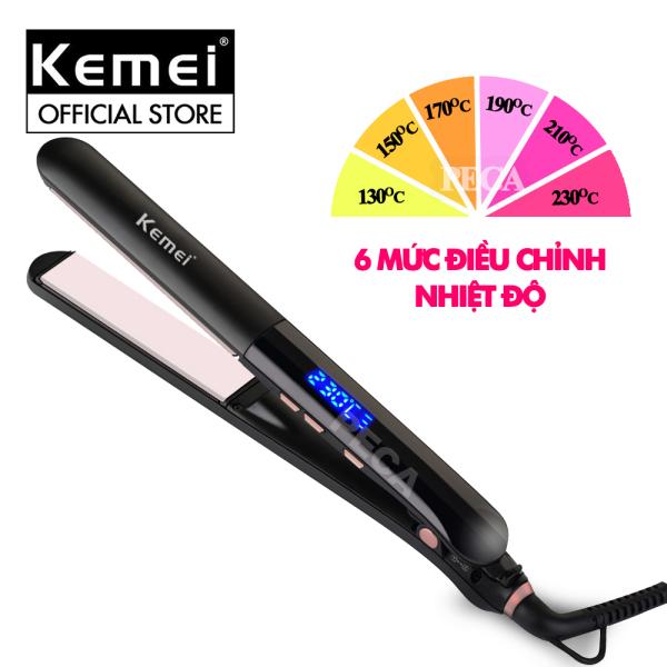 Máy duỗi tóc màn hình LCD thông minh Kemei KM-1322 làm nóng nhanh, 6 mức nhiệt điều chỉnh phù hợp với nhiều loại tóc, tâm nhiệt gốm cao cấp an toàn - PHÂN PHỐI CHÍNH HÃNG