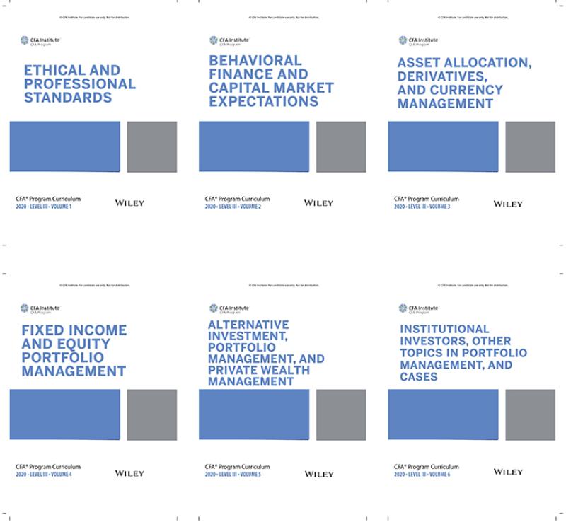 bộ sách 6 cuốn CFA Program Curriculum 2020 Level III, Volumes 1 - 6 ( sách gia công keo gáy) tặng kèm Schwesers Quicksheet
