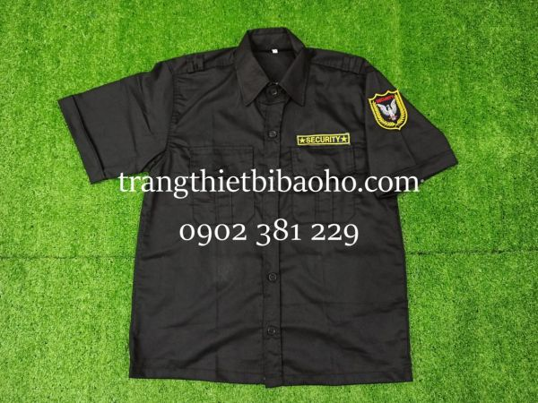 Áo đồng phục bảo vệ, vệ sĩ màu đen kèm logo tay và ngực