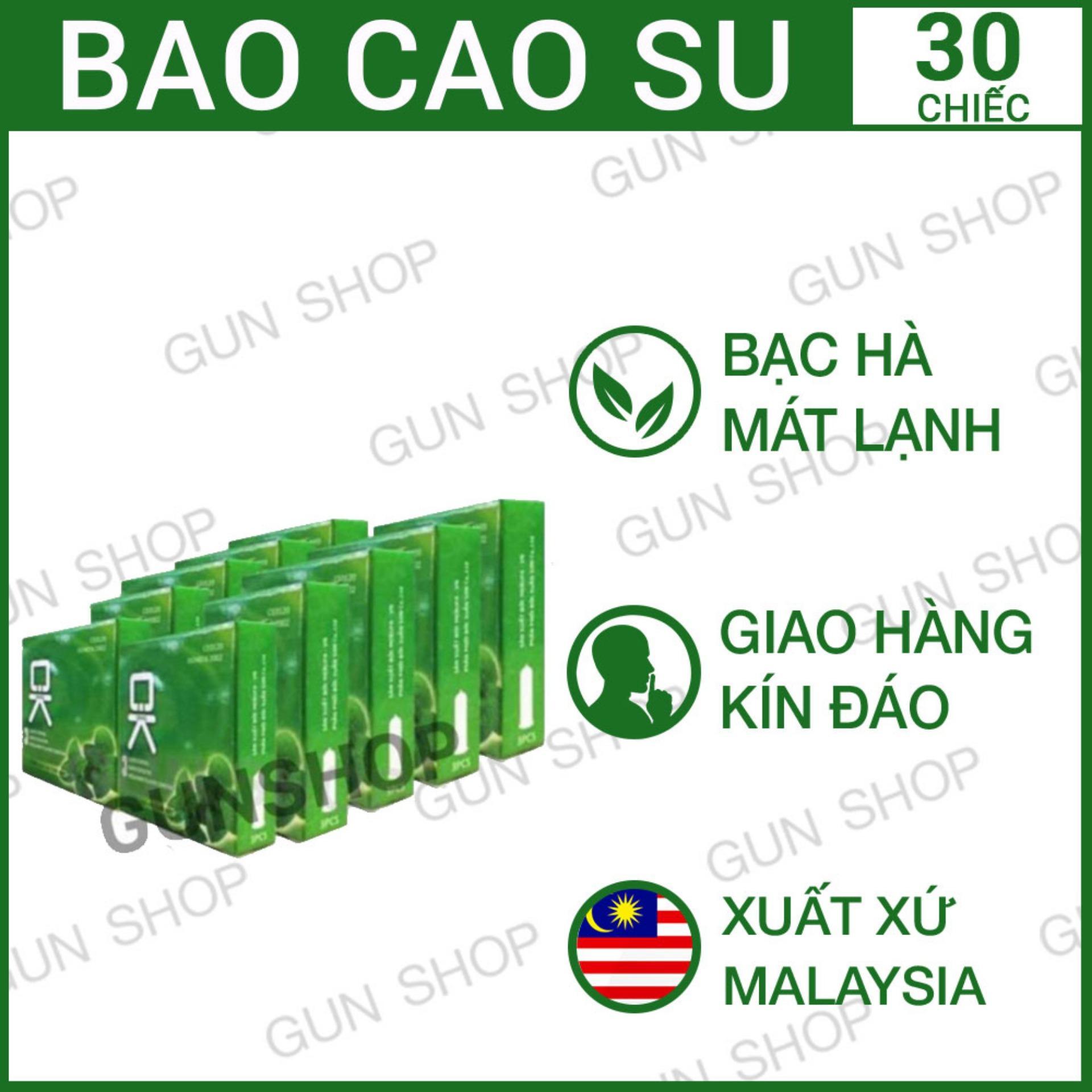 Bộ 10 hộp (30 chiếc) Hộp Bao Cao Su OK (Malaysia) mùi hương bạc hà nhập khẩu