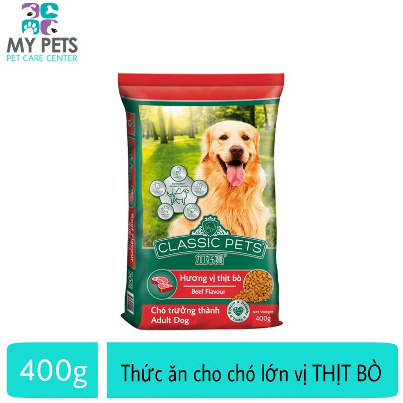 Thức ăn cho chó trưởng thành hương vị thịt bò - Classic Adult gói 400g Cung cấp dinh dưỡng tăng cường hệ miễn dịch