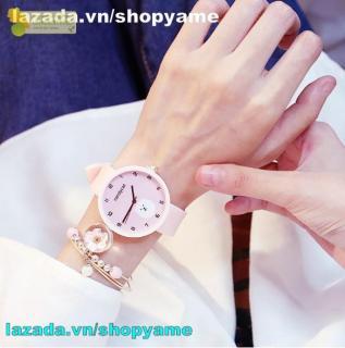 Đồng hồ dây cao su nữ Candycat hình gấu trắng cute, dây cao su mềm mại (xanh ngọc, hồng) shopyame thumbnail