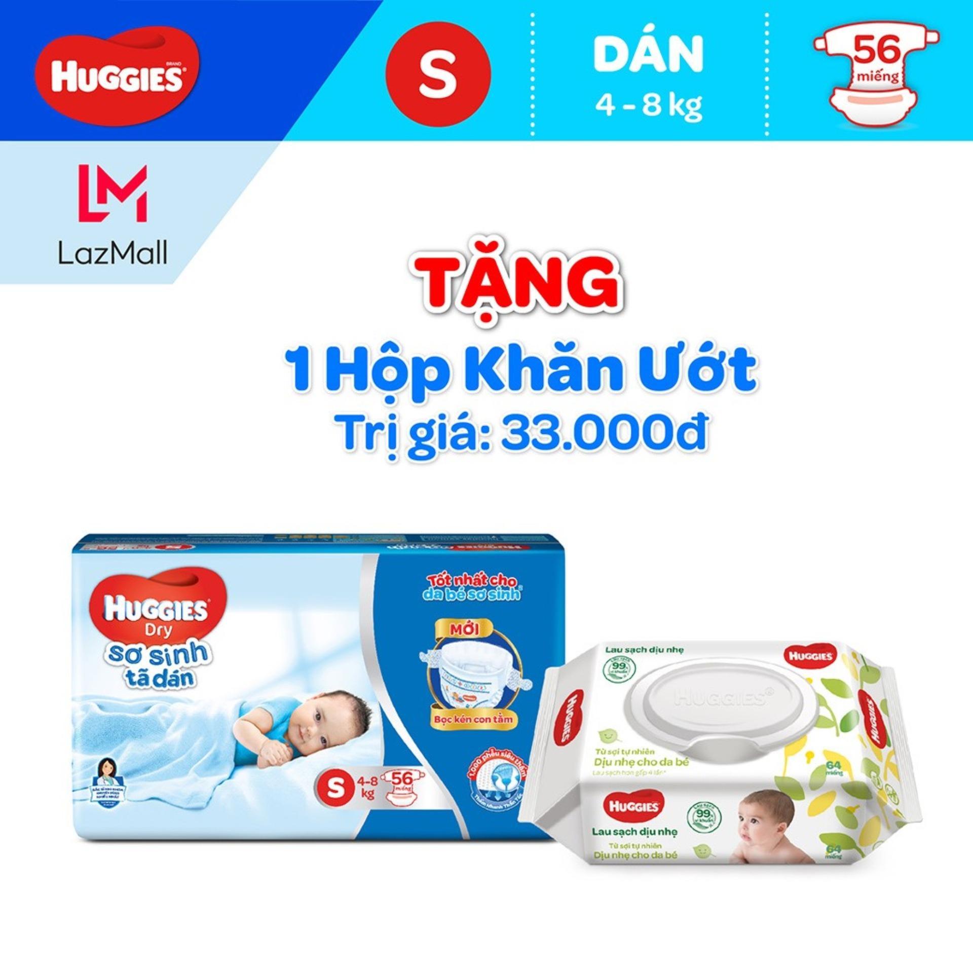 Giá Quá Tốt Để Mua Tã Dán Huggies Dry Size S 56 Miếng ( Tặng 1 Gói Khăn Uớt 3Ok) (cho Bé 4 - 8kg) - HSD Luôn Mới