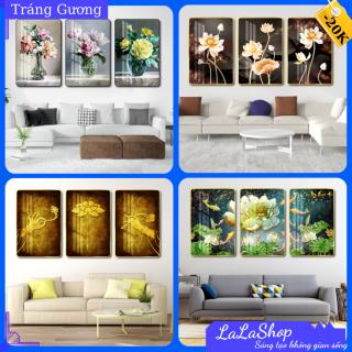 [Voucher30K] Bộ 3 bức tranh treo tường Hoa Sen tráng gương có khung cỡ lớn khổ 40x60cm trang trí decor phòng khách phòng ngủ, bàn thờ tổ tiên - In nghệ thuật 3D hiện đại - Tặng kèm đinh thumbnail