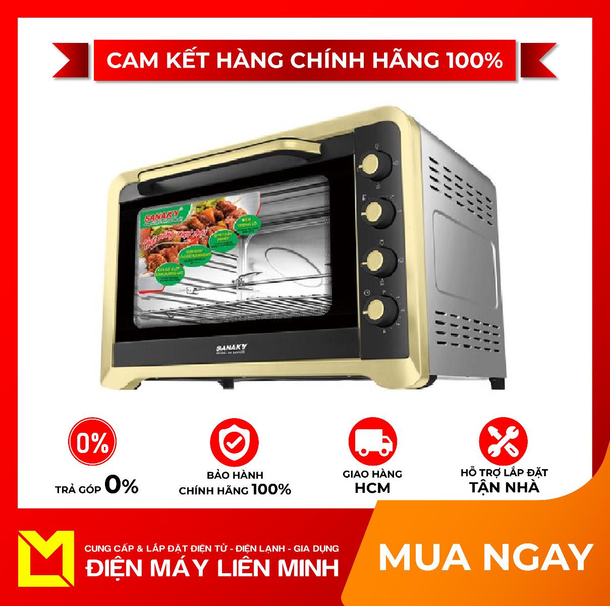 [Trả góp 0%]Lò nướng Sanaky VH129N2D - Thân lò được làm bằng thép sơn tĩnh điện có độ bền cao và dễ dàng vệ sinh. Hệ thống điều khiển nhiệt độ hẹn giờ và chọn chế độ nấu bằng núm xoay dễ sử dụng.