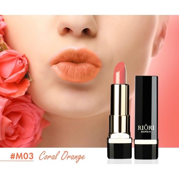 Son lì pha dưỡng lên màu chuẩn, bền màu, lâu trôi không gây khô, thâm môi Riori Matte Me Lipstick chính hãng có 6 màu son dạng thỏi 3,5g
