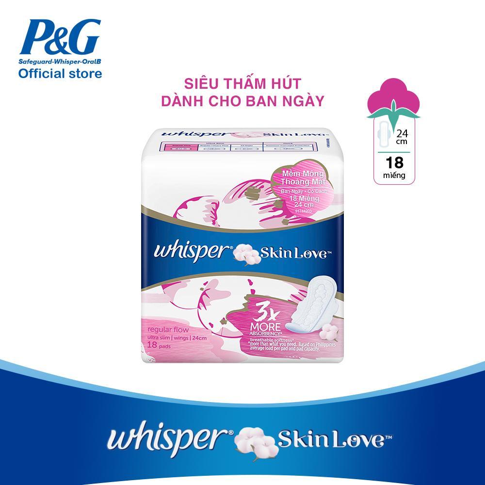 Băng vệ sinh Whisper Skin love mặt bông siêu mỏng cánh ban ngày gói 18 miếng (24cm)