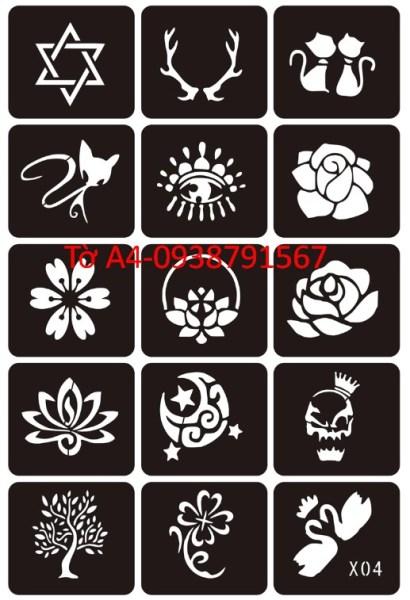 Khuôn vẽ hình xăm tattoo , hình xăm giả, hình xăm henna (1 tờ A4 có nhiều mẫu) cao cấp