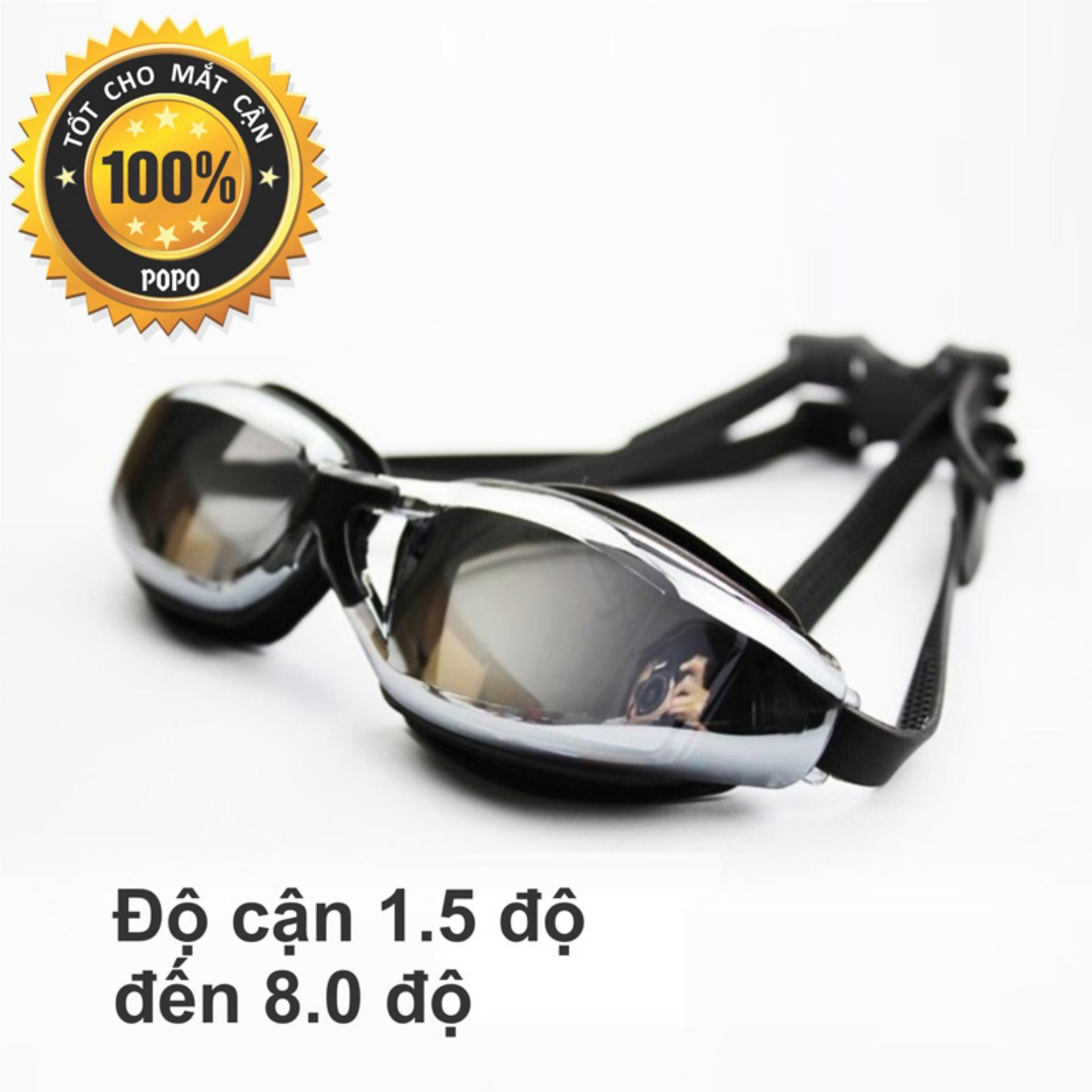 Kính bơi cận độ cận từ 1.5 đến 8.0 cho người cận thị, mắt kính tráng gương, chống UV, chống hấp hơi; khóa đeo kính thông minh POPO Collection