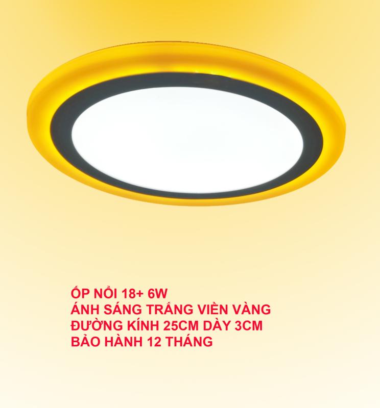 Đèn led ốp trần 24w tròn ánh sáng trắng viền Vàng 18w+6w