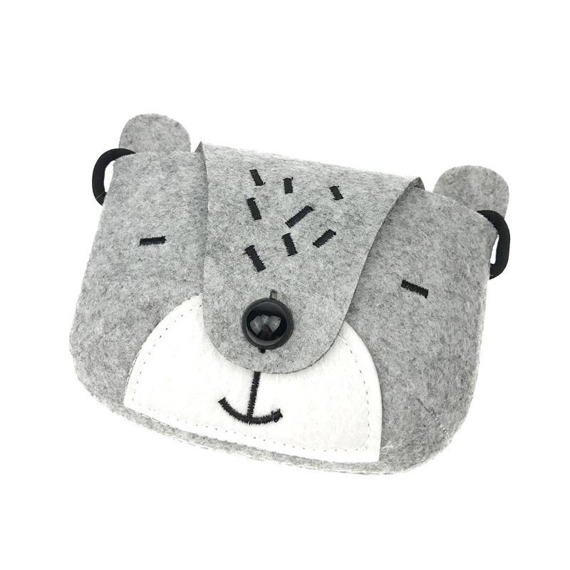 Children one shoulder bag Kids coin purse cute one shoulder bear bag girls messenger bag(gray)