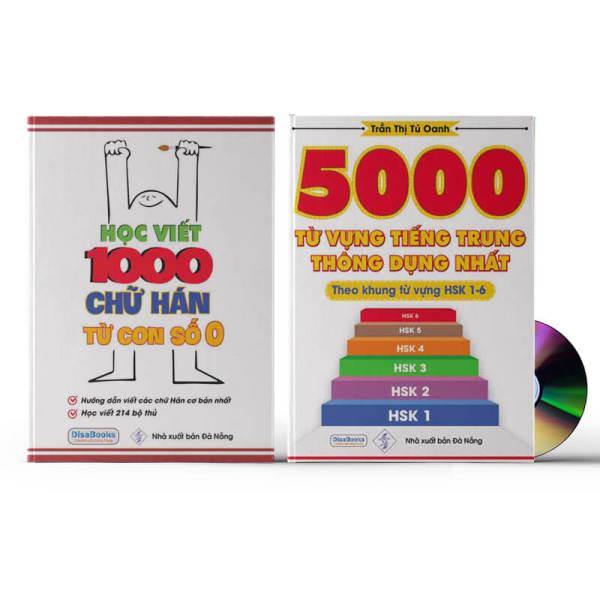 Mua Combo 2 sách: Học viết 1000 chữ Hán từ con số 0 + 5000 từ vựng tiếng Trung thông dụng nhất + DVD quà tặng