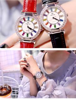 Đồng hồ nữ KING TIME Đính Đá Ruby Cầu Vòng, Mặt to nổi bật, Chống nước sinh hoạt 4
