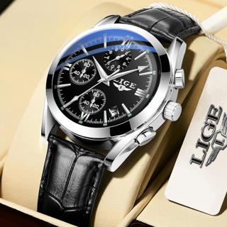 LIGE Đồng hồ đeo tay nam Thời trang Casual Analog Quartz Không thấm nước Chronograph dạ quang Da thể thao Đồng hồ đeo tay thumbnail