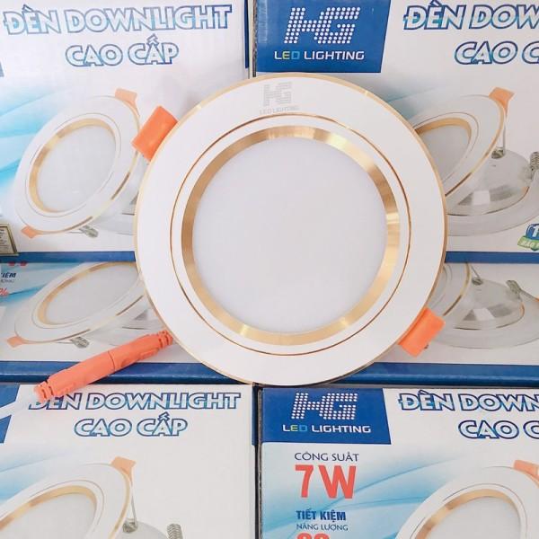 Đèn led âm trần viền vàng 7w tròn 3 màu ánh sáng (trắng - vàng nắng - vàng ấm) - phi 90mm