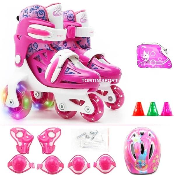 Mua Giày patin 3 hàng bánh dễ đi cho bé từ 2-5 tuổi, đủ phụ kiện mũ bảo hiểm, bảo hộ chân tay, cốc patin [TOMTIN SPORT]