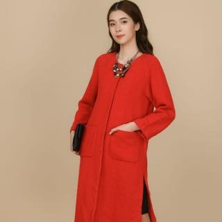 Áo măng tô dạ đỏ đậm xẻ sườn Elise FTMD7110398DD thumbnail