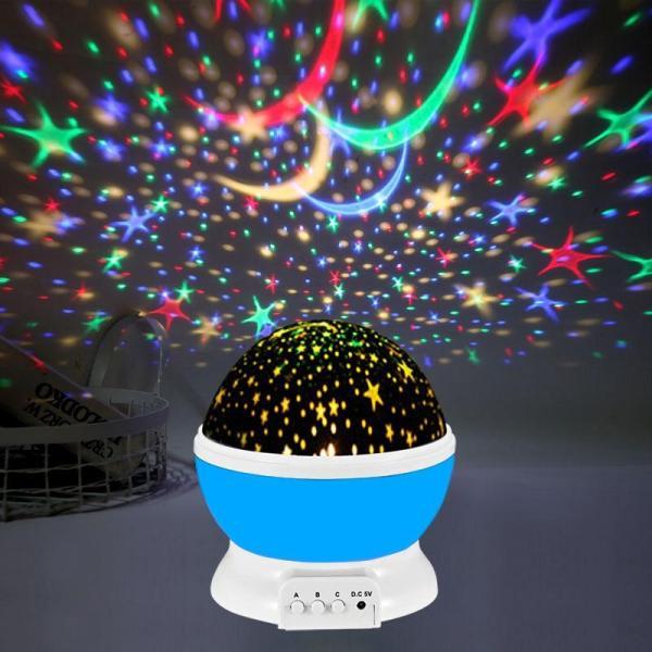 Đèn ngủ chiếu hình sao bầu trời tự xoay 360 độ tích hợp đổi màu với nhiều chế độ