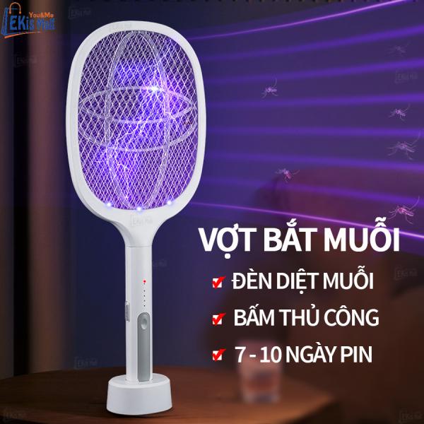 Vợt điện bắt muỗi đa năng cao cấp Ekis Mall Vợt muỗi có đèn thu hút muỗi tự động 2 lớp lưới an toàn cho trẻ em có đế sạc USB pin khỏe 3 chức năng đồ dùng gia đình