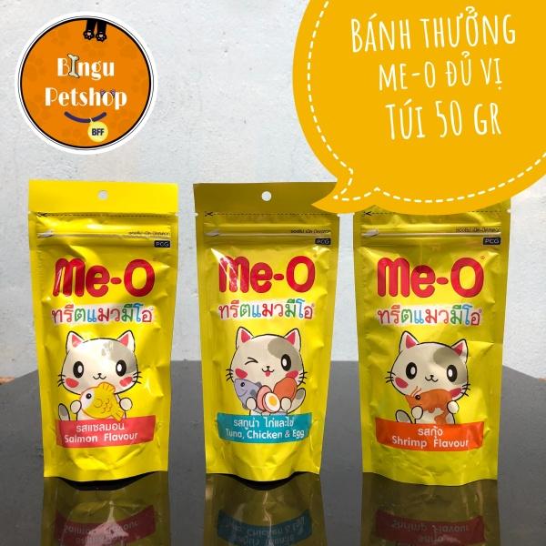 Bánh thưởng cho mèo Me-O gói 50g - 3 vị Cá Hồi, Cái Ngừ, Tôm
