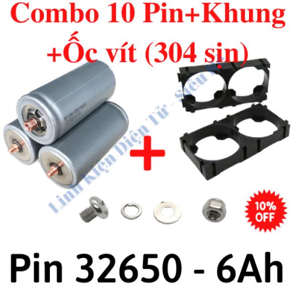 20 Pin sắt 32650 6000mah,Khung pin 32650, Bộ ốc vít m4 (304), nhiều lựa chọn