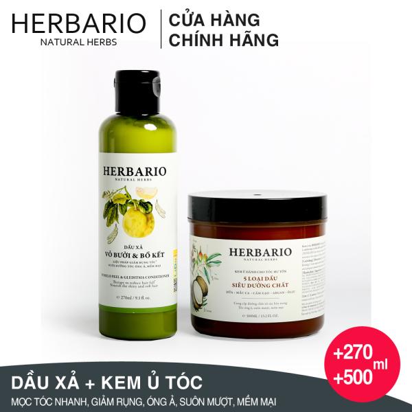 Bộ Dầu xả Bưởi và bồ kết 270ml + Kem ủ tóc Herbario 500ml