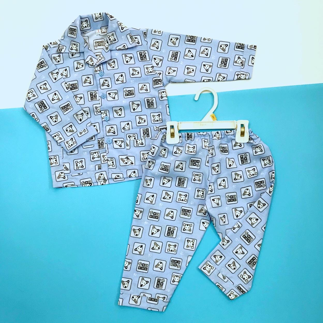 Giá bán Pijama cho bé vải kate thái hình Cún xanh nhỏ 10-40kg