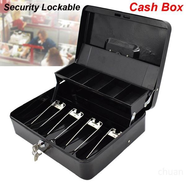 Bảo mật di động Có thể khóa Hộp tiền mặt Khay xếp ngăn kéo Tiền lưu trữ an toàn Đen fi3Yc26h
