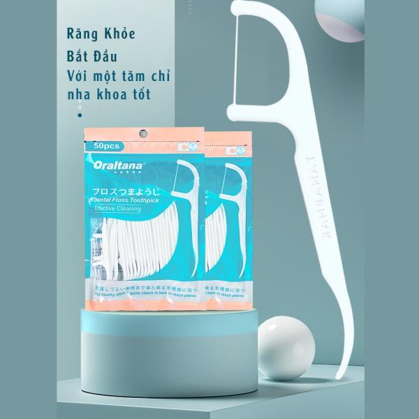 Túi tăm chỉ nha khoa Oraltana 5 sao, Tăm chỉ y tế chất lượng cao với sợi chỉ siêu dai, đầu tăm linh hoạt loại bỏ thức ăn khỏi phần kẽ răng chật nhất, sản xuất theo tiêu chuẩn quốc tế (Túi 50 cái) - Guty Mart