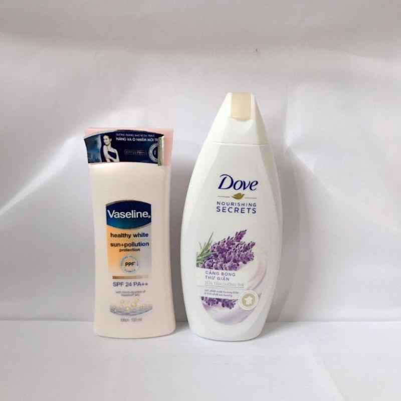 BỘ 2 MÓN : 1 chai sữa tắm Dove 120g + 1 chai sữa sưỡng thể Vaseline 100g