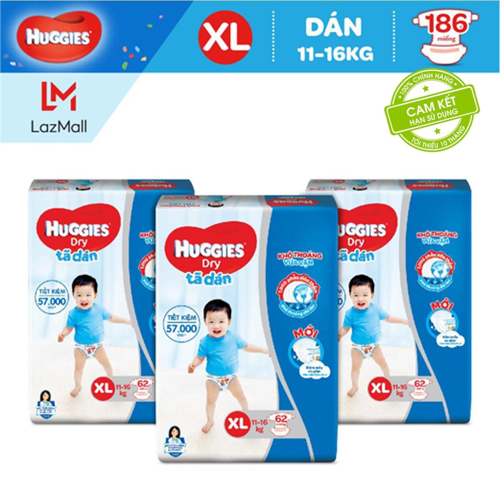 Lazada Ưu Đãi Khi Mua Bộ 3 Tã/Bỉm Dán Huggies Dry Super Jumbo XL62 - Gói 62 Miếng (Cho Bé 14 - 17kg) - Cam Kết HSD Còn ít Nhất 10 Tháng